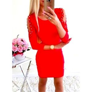 New Red Off The Shoulder Pearl/Lace Dress Sz L